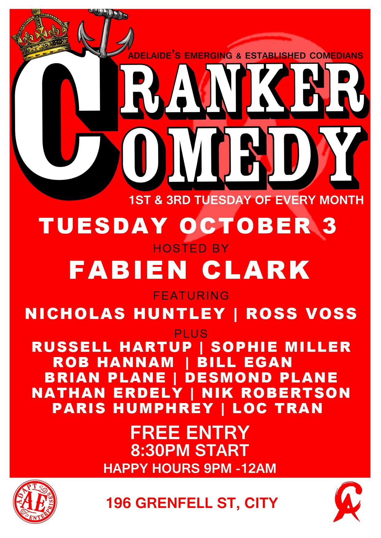 Pleased to be trying out some new material at Cranker Comedy on Tuesday the 3rd of October 2017...