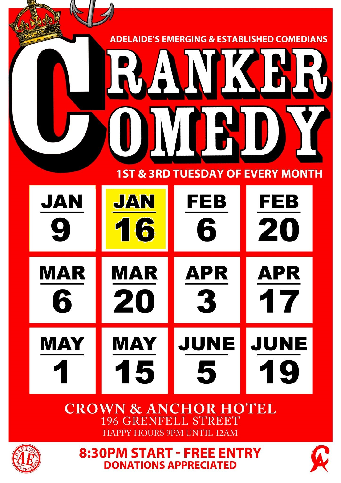 Pleased to be trying out some new material at Cranker Comedy on Tuesday the 16th of January 2018...